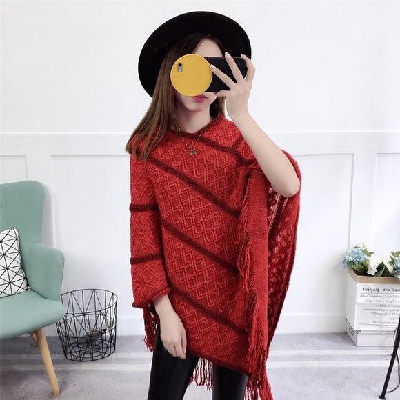 Knitted Tassel Sweater Poncho