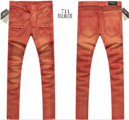 Balmain Men Orange Jeans