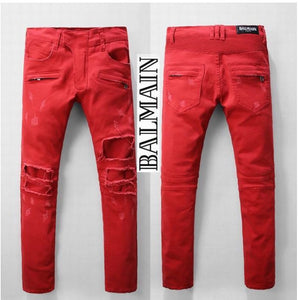 Balmain Men Deep Red Rip Jeans