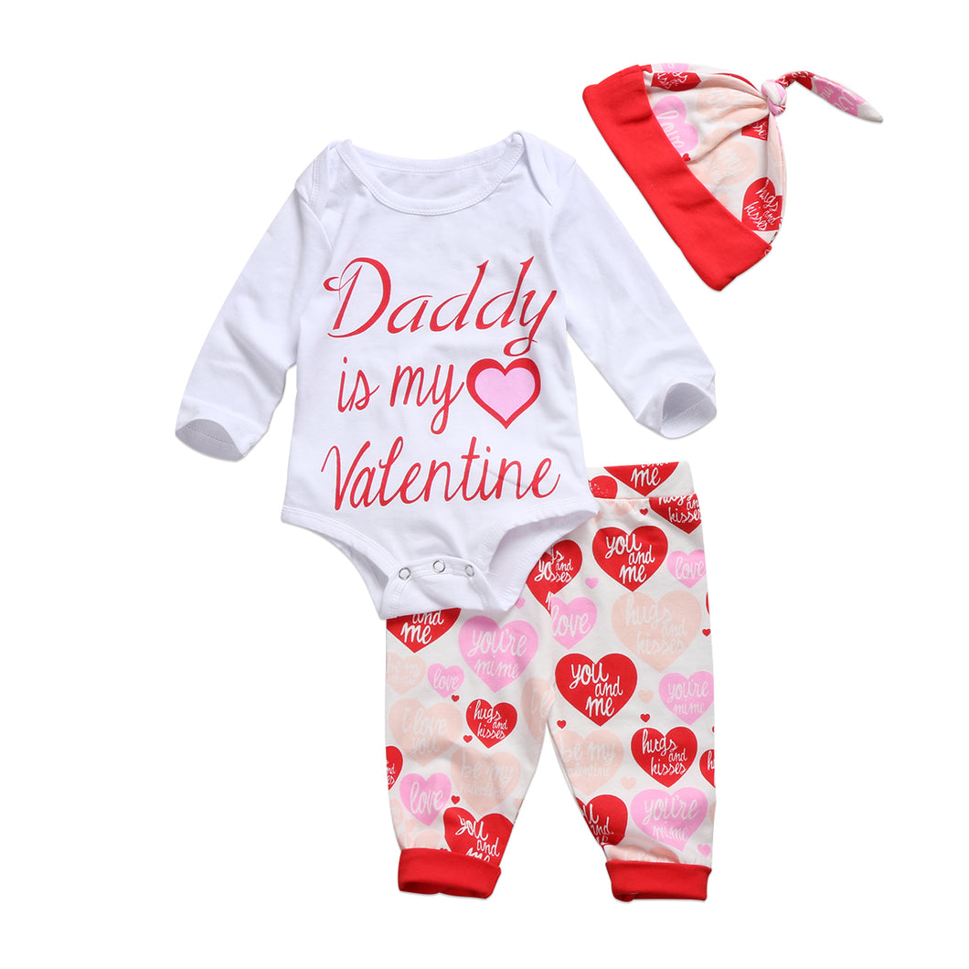 Daddy Is My Valentine Baby Girls Clothes Long Sleeve Romper Pants