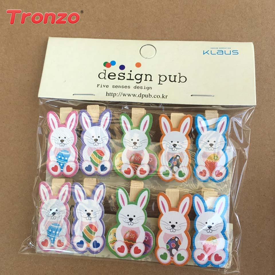 10pcs Easter Wooden Diy Photo Clips With 1 4m Hemp Rope