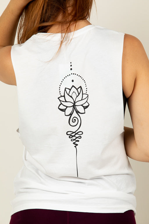 Lotus Flower White Muscle Tee