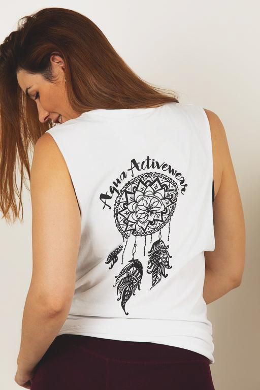 Dreamcatcher White Muscle Tee