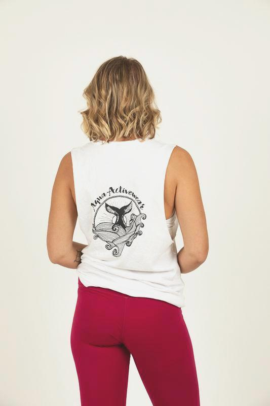 Whale's Tail White Muscle Tee