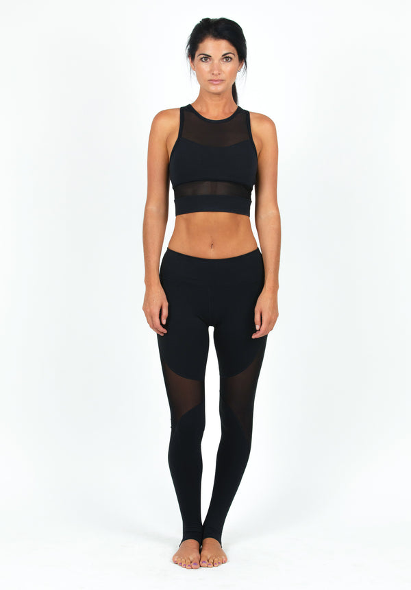 Black Mesh yoga Panel Leggings