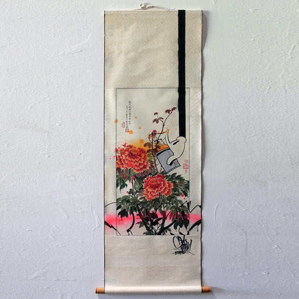 3 PEONIES AND A CAN SCROLL