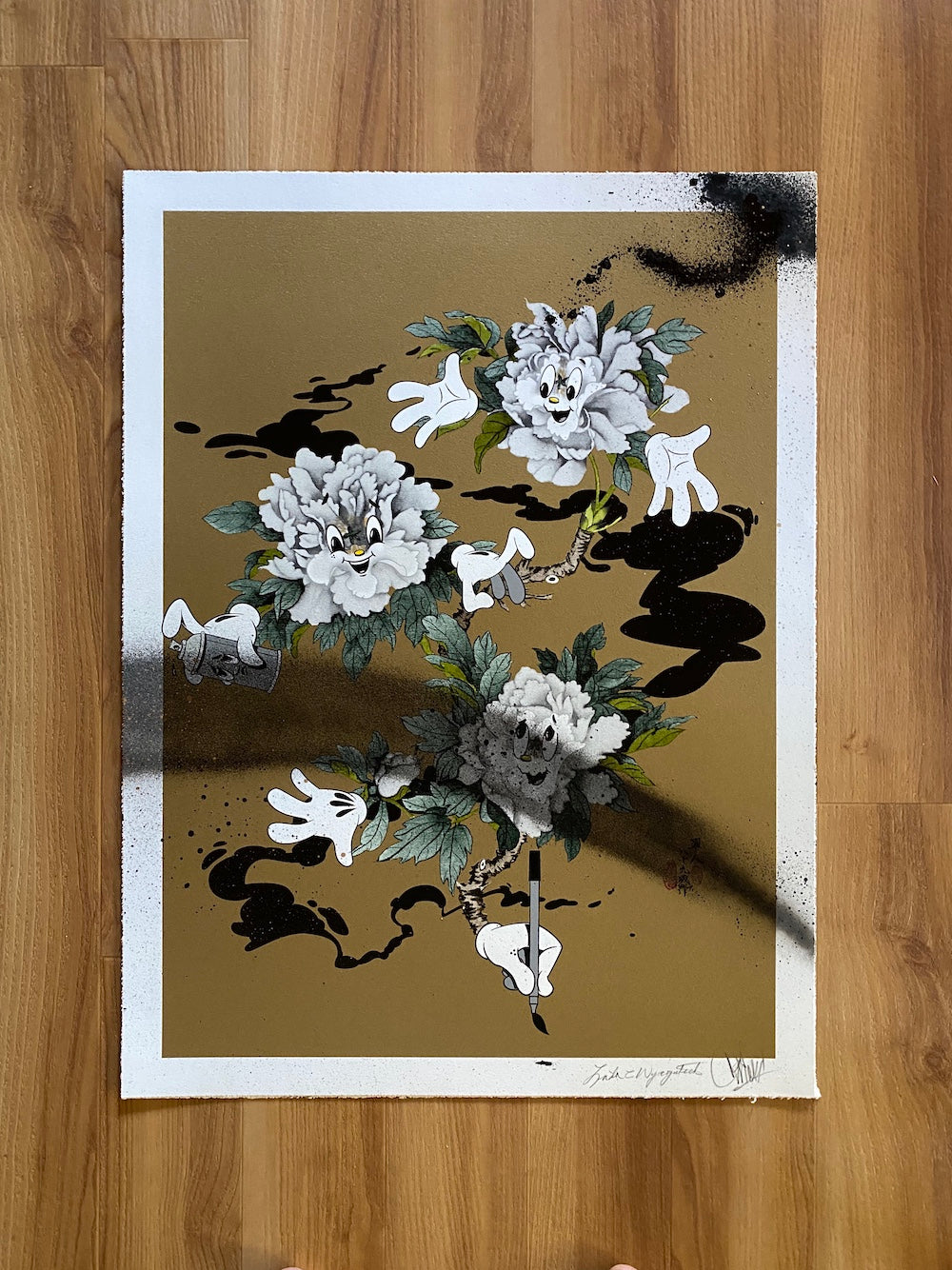 MY LIL PEONIES PRINT: GOLDEN GIRLS EDITION (HAND EMBELLISHED)