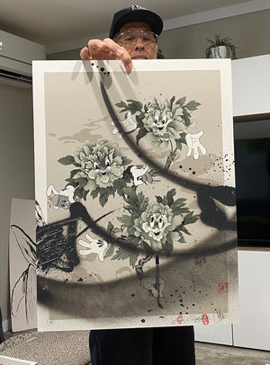 MY LIL PEONIES PRINT: MONOCHROME EDITION (HAND EMBELLISHED)