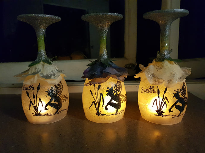 Whimsy Wine glasses tea lights