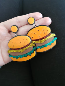 Chunky Resin Stud Earrings (Hamburger)