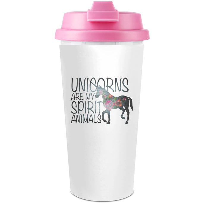 'Unicorns Are My Spirit Animals' Travel Coffee Cup - 450 ml