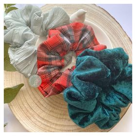 Scrunchie - 'Christmas Plaid' Trio