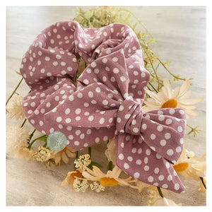 Hattie - 'Dotty About You' Handmade Linen Bow