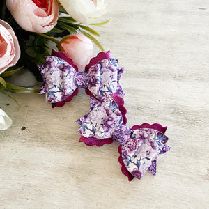 Luna Bow - 'Purple Peonies' Small Size