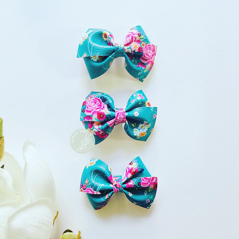 Harlow Bow - 'Vintage Teal Bouquet' Small Size