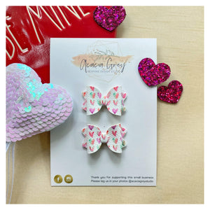 'Watercolour Hearts' Baby Imogen Piggy Tail Bows