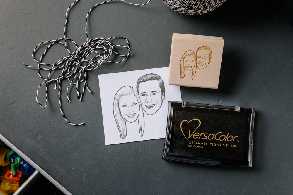 CUSTOM HAND-DRAWN COUPLE PORTRAIT RUBBER STAMP