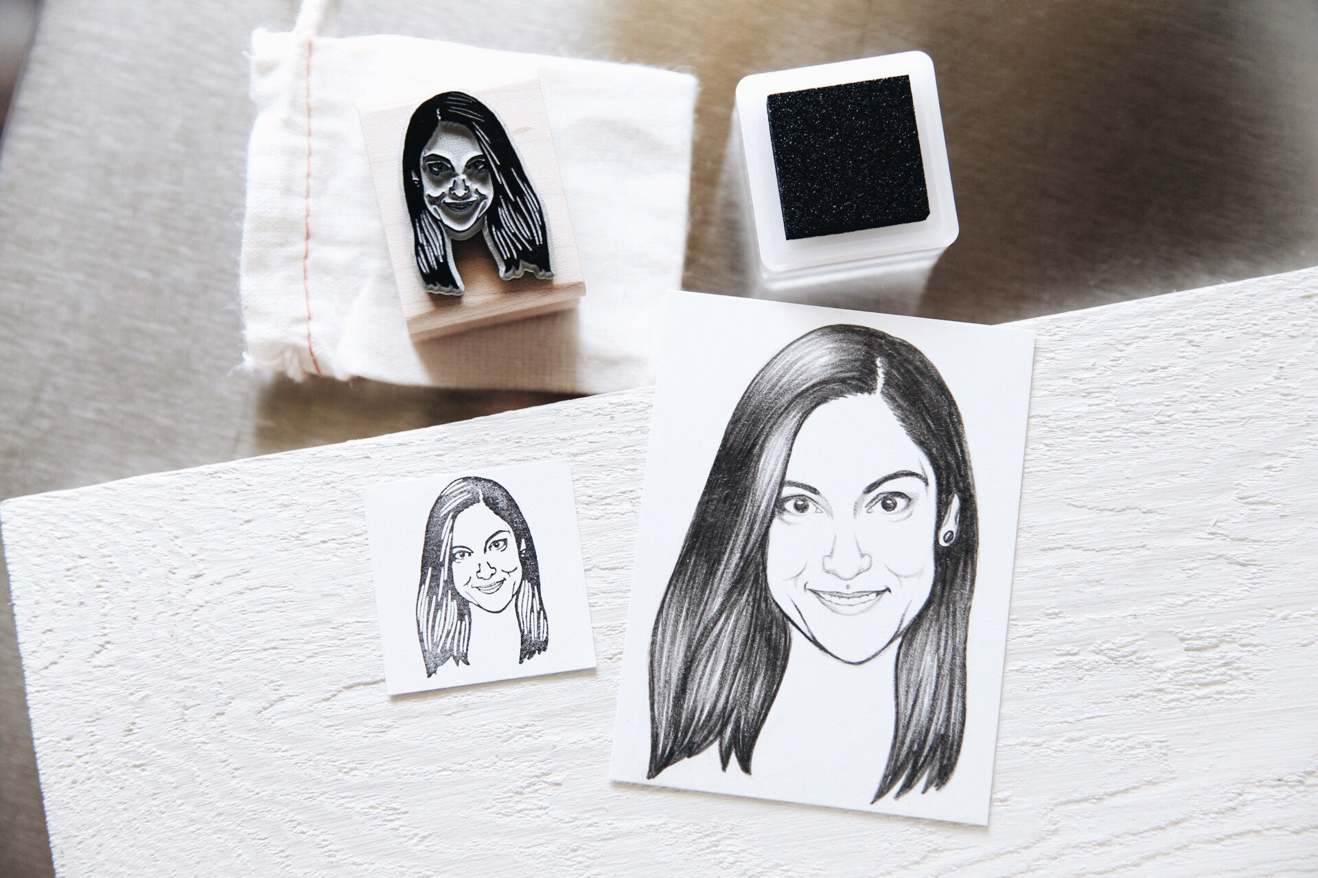 CUSTOM HAND-DRAWN SINGLE PORTRAIT RUBBER STAMP