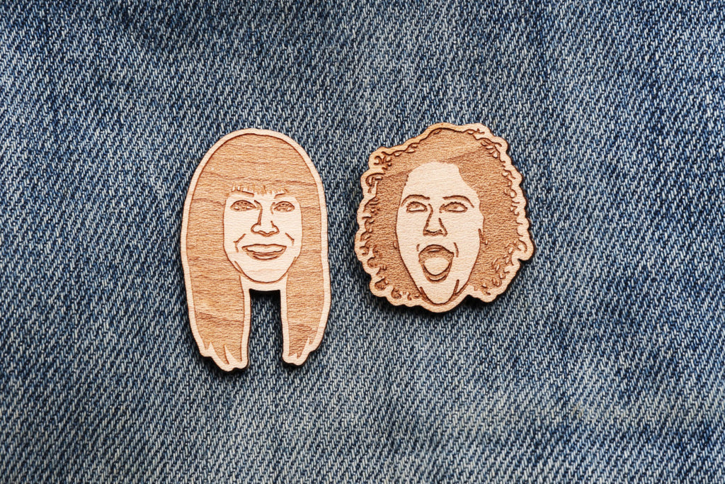 Wooden Portrait Lapel Pins