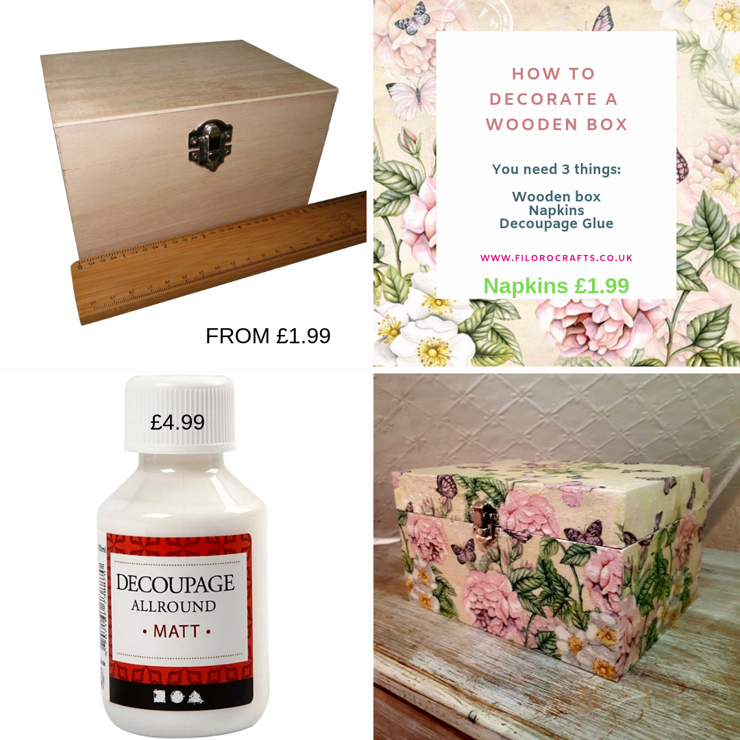 How to decorate a wooden box with napkins and decoupage glue