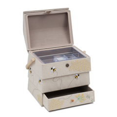 Sewing Bee Hive Design Sewing Basket Box With Drawer + FREE Sewing Accessory Kit Worth £9.99