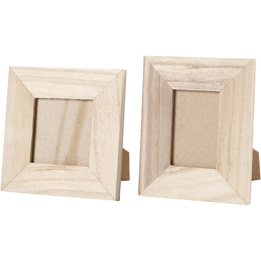 2 X Assorted Size Empress Wood Frames With Stand For Photos Pictures Decoration