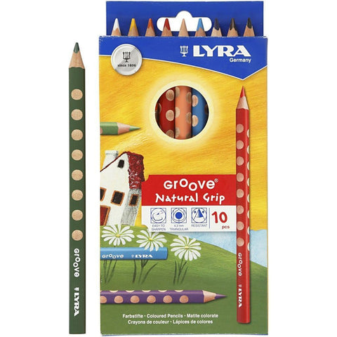10 x Lyra Ergonomic Triangular Shaped Assorted Colour Colouring Pencils 18 cm - Hobby & Crafts