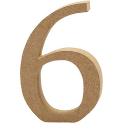 Large MDF Wooden Number 13 cm - Digit 6 - Hobby & Crafts