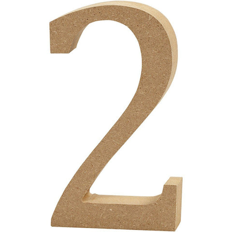 Large MDF Wooden Number 13 cm - Digit 2 - Hobby & Crafts