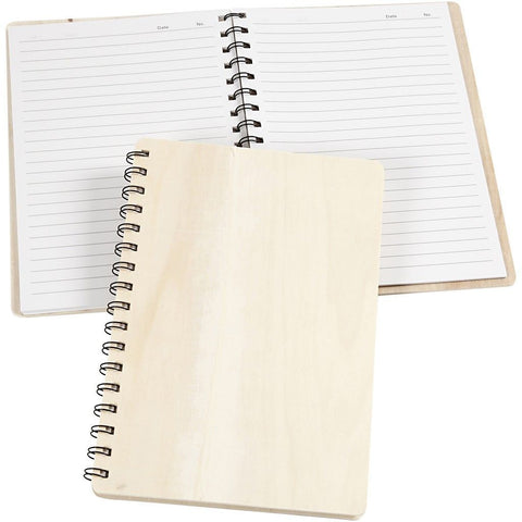 Note Book With Wooden Cover For Writing Paper 22.3 cm - Hobby & Crafts