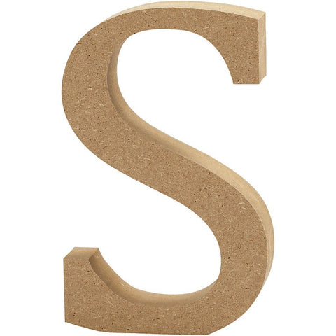Large MDF Wooden Letter 8 cm - Initial S - Hobby & Crafts