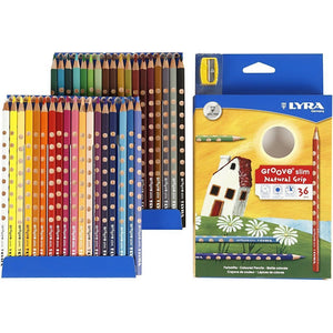 36 x Lyra Ergonomic Triangular Shaped Assorted Colour Slim Colouring Pencils 18 cm - Hobby & Crafts