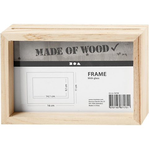Double Sided Pine Wood Frame With Glass For Photos Pictures Home Decoration 16 cm - Hobby & Crafts