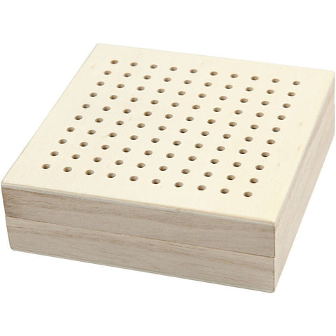 Wooden Brodery Box With Hole Lid Personalise Storage Decoration Craft - Hobby & Crafts