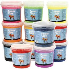 12 x Modelling Material Plastic Buckets With Assorted Colour Small Beads - Hobby & Crafts