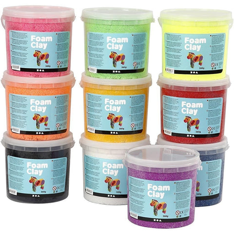 10 x Assorted Colour Modelling Material Small Beads With Plastic Buckets - Hobby & Crafts