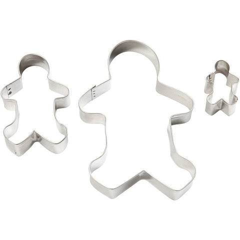 3 x Assorted Size Gingerbread Man Shaped Metallic Cookie Cutters Kitchen Accessories - Hobby & Crafts