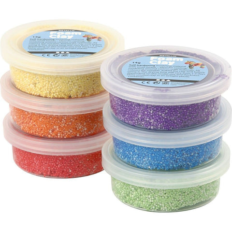 6 x Assorted Metallic Colour Small Bead Modelling Material With Plastic Tub - Hobby & Crafts