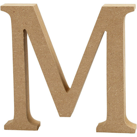 Large MDF Wooden Letter 13 cm - Initial M - Hobby & Crafts