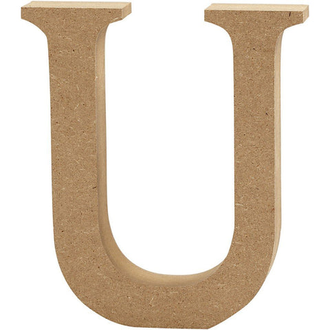 Large MDF Wooden Letter 13 cm - Initial U - Hobby & Crafts