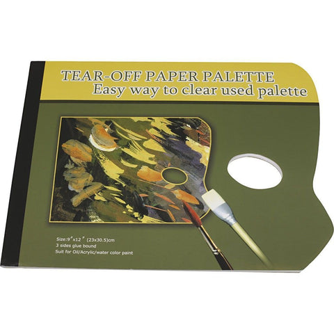 Tear Off Artists Palette With Wax Paper Sheets Special Thumbholes For Painting 31 cm - Hobby & Crafts
