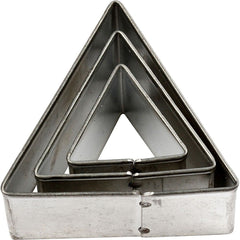 3 x Assorted Size Triangle Shaped Metal Cookie Cutters Kitchen Accessories - Hobby & Crafts