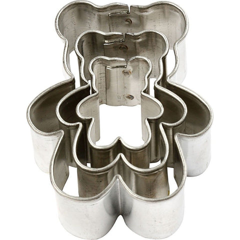 3 x Assorted Size Bear Shaped Metal Cookie Cutters Kitchen Accessories - Hobby & Crafts
