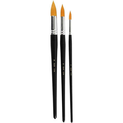 3 x Assorted Gold Line Big Size Round Brush With Wooden Handle For Painting - Hobby & Crafts