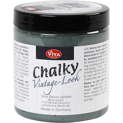 Vivo Decor Chalky Vintage Look Dark Green Colour Paint For Wood Glass 250 ml - Hobby & Crafts
