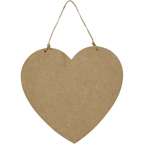 Large Wooden Heart Door Sign MDF With Natural Twine Decoration Craft - Hobby & Crafts
