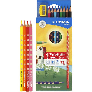 12 x Lyra Ergonomic Triangular Shaped Assorted Colour Slim Colouring Pencils 18 cm - Hobby & Crafts