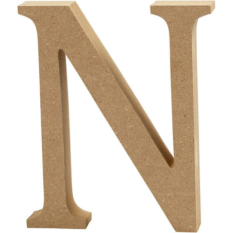 Large MDF Wooden Letter 8 cm - Initial N - Hobby & Crafts