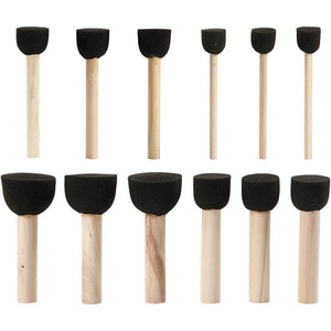 12 Assorted Foam Stencil Brushes For Paint Dabbing With Wooden Handle - Hobby & Crafts