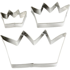 3 x Assorted Size Crown Shaped Metallic Cookie Cutters Kitchen Accessories - Hobby & Crafts